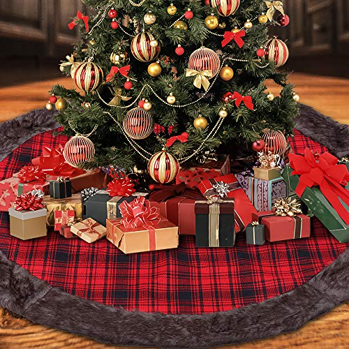 DYD Christmas Tree Skirt 48 inches, Red and Black Buffalo Burlap Plaid with Thick Faux Fur Edge Tree Skirt, Rustic Xmas Tree Holiday Decorations