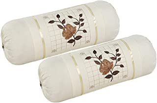 HSR Collection Embroidered Bolsters Cover(Pack of 2, Off White)