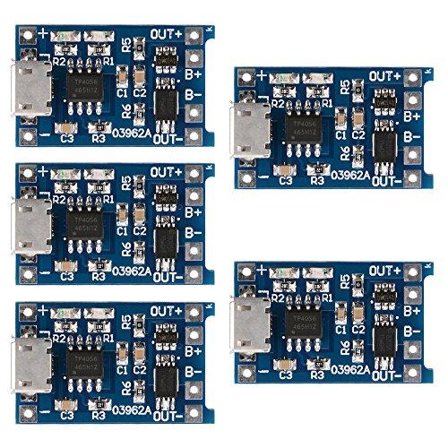 Módulo cargador de pilas de litio TE420, 5unidades, 1A 5V, Micro USB TP4056. De Xsource.