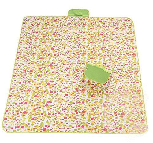 zanasta XXL Picknickdecke 200 x 145 cm Stranddecke/Outdoor Decke Wasserdicht (Nylon), Groß mit Tragegriff Punkte Gelb-Orange-Pink-Grün