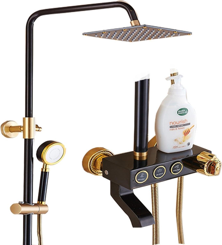 ZHFC bathroom shower take a shower Shower set black gold Press intelligent constant temperature Shower Faucet