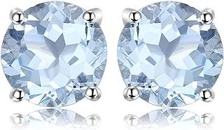 Birthstone Gemstones Triangle Pear Round Oval Natural Amethyst Garnet Peridot Sky Blue Topaz Stud Earrings For Women 925 Sterling Silver