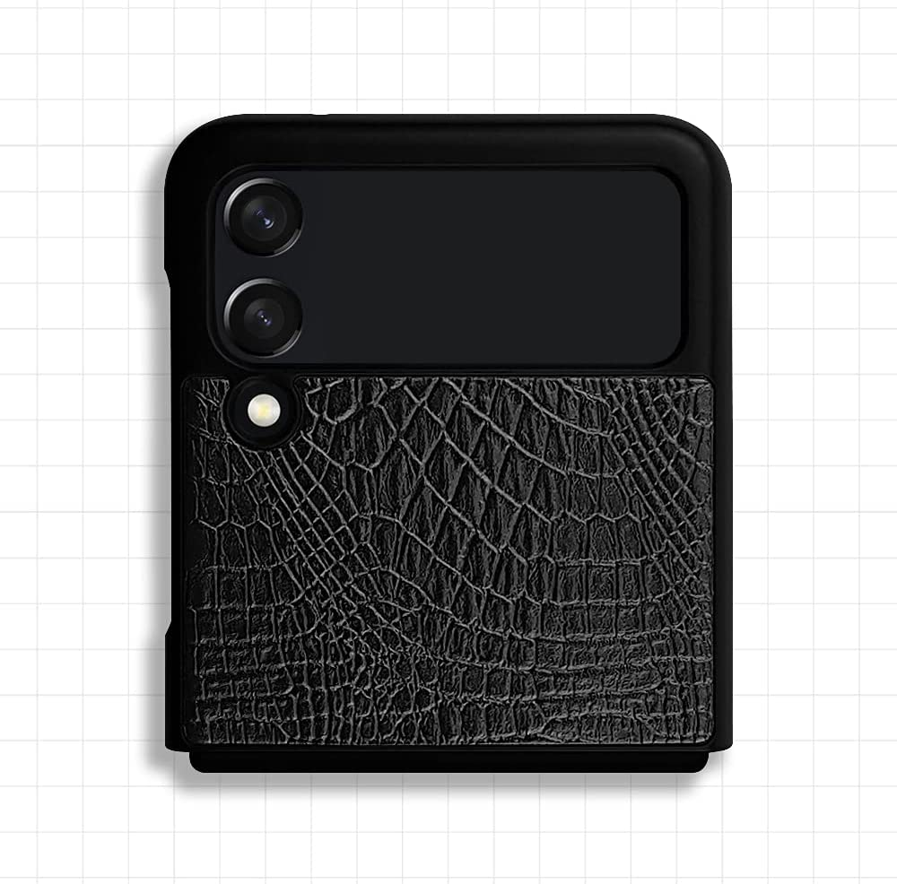 Qoosan Thin Fit Designed for Galaxy Z Flip 3 5G Case (2021) Premium Thin Hard PC and PU Leather Phone Cover - Black