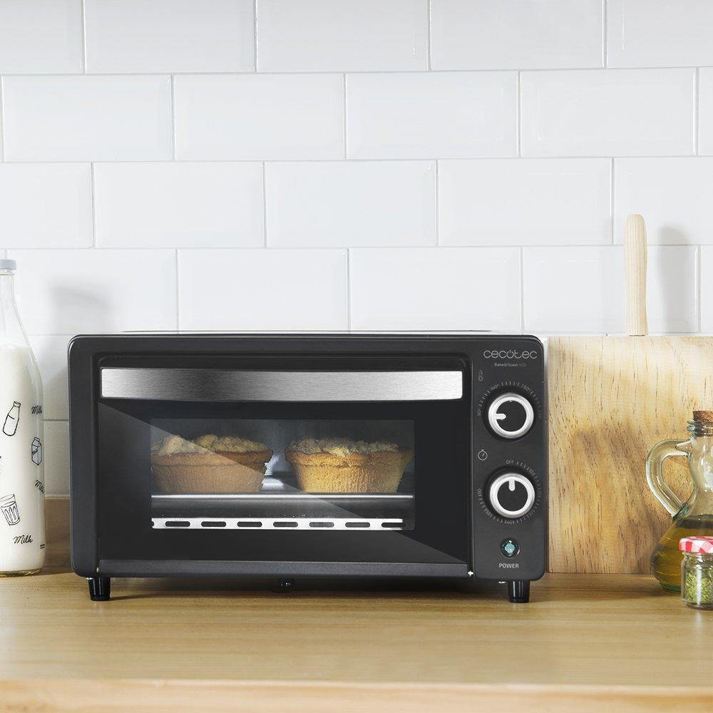 Cecotec Bake&Toast 450 - Horno Conveccion Sobremesa, Capacidad de 10 litros, 1000 W, Temperatura hasta 230ºC y Tiempo hasta 60 Minutos, Perfecto para Panini y Bollería, 10 litros de capacidad: Amazon.es: Hogar