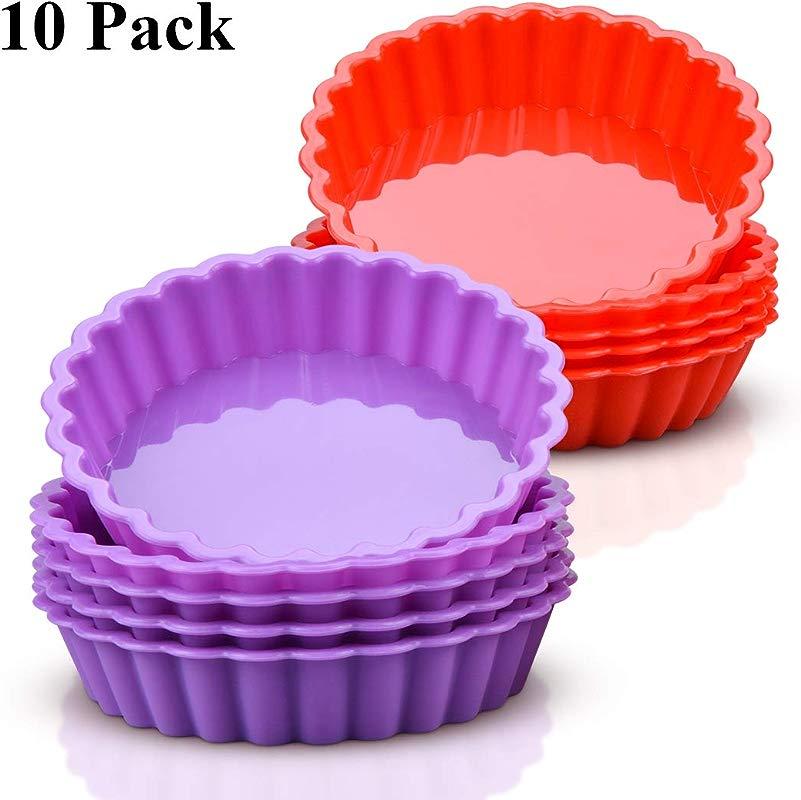 Silicone Mini Quiche Pan Non Stick Round Pie Pan Silicone Molds 10 Packs