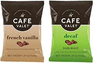 Cafe Valet 84Count French Vanilla & 84Count Decaf One Cup Coffee Filter Pack With Disposable Brew Basket, for Use With Cafe Valet Single-Serve Coffee Brewers