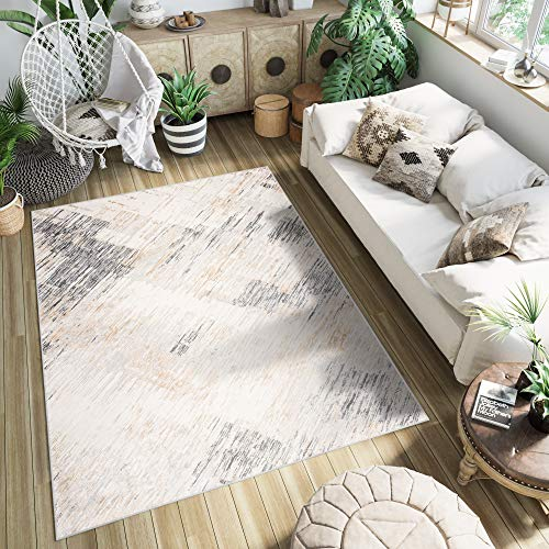 TAPISO Montreal Teppich Kurzflor Dunkelbeige Hellgrau Modern Design Verwischt Meliert Used Effekt Wohnzimmer Schlafzimmer Acryl ÖKOTEX 140 x 190 cm
