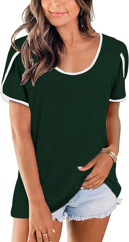 AODONG Womens Summer Tops Short Sleeves Casual O-Neck Tee Shirt Tunics Womens Tops T-Shirts