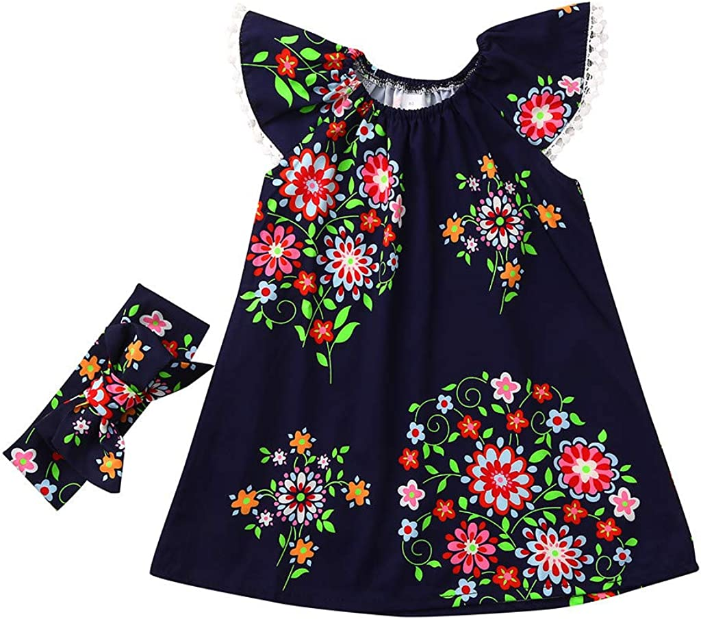 TEVEQ Summer Toddler Baby Girls Dress Sleeveless Flower Floral Print Lace Dress+Headband