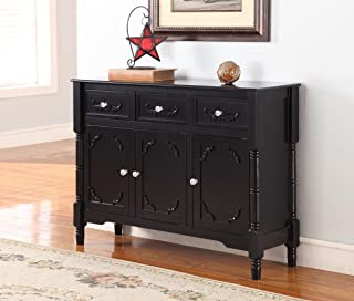 King's Brand Wood Console Sideboard Table with Drawers and Storage, Black Finish