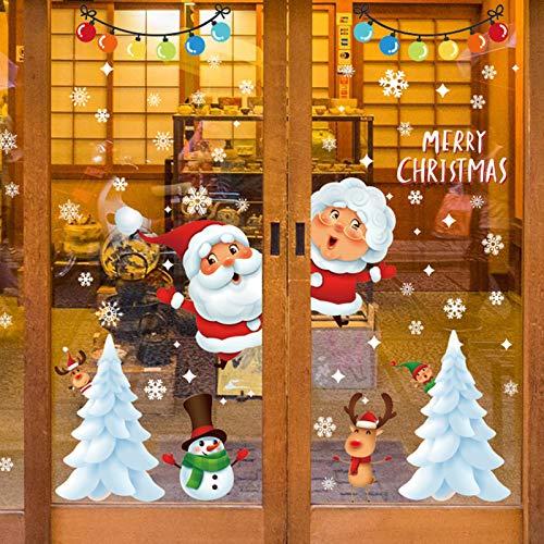 Sunshine smile Decoracion Navidad Pegatinas,Pegatinas Navidad,Navidad Decoracion Calcomania,Ventana Navidad Adornos,Pegatinas Navidad Mural Decal Sticker,Pegatina de Ventana de Navidad (92052)