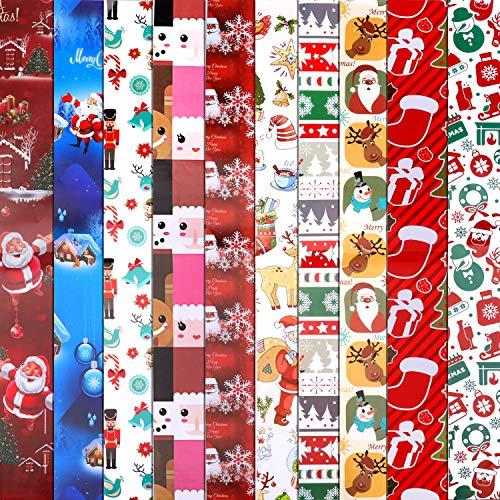 HOWAF 10 Hojas Grandes de Navidad Papel para Regalo, 74 cm x...
