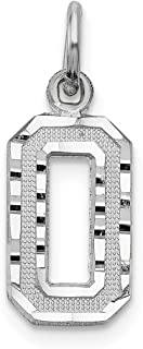 14k White Gold Casted Small Number 0 Pendant Charm Necklace Sport Fine Jewelry Gifts For Women For Her