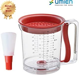 Umien Fat Separator And Pancake Cupcake Batter Dispenser - Great For Gravy Grease Oil Separator with Bottom Release Muffins Creeps Cakes & Waffles 4 Cup Capacity - Extra Bonus Oil Brush Included.