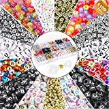 EuTengHao 1100Pcs Mixed Acrylic Alphabet A-Z Cube Letters Beads DIY Bracelet Letter Beads for Jewelry Making, Bracelets, Necklaces, Key Chains, Earring, Friendship Jewelry Making