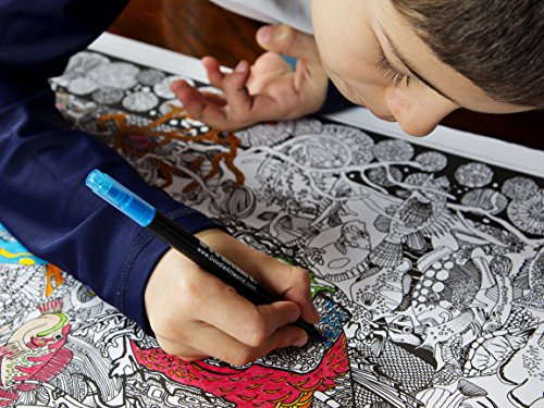 """The Original DoodleArt by PlaSmart - The Sea, Adult Coloring 24""""x 34"""" Poster & Non- Toxic  Precision 12 Marker Set, Reduce Stress, Ages 8 and Up"""