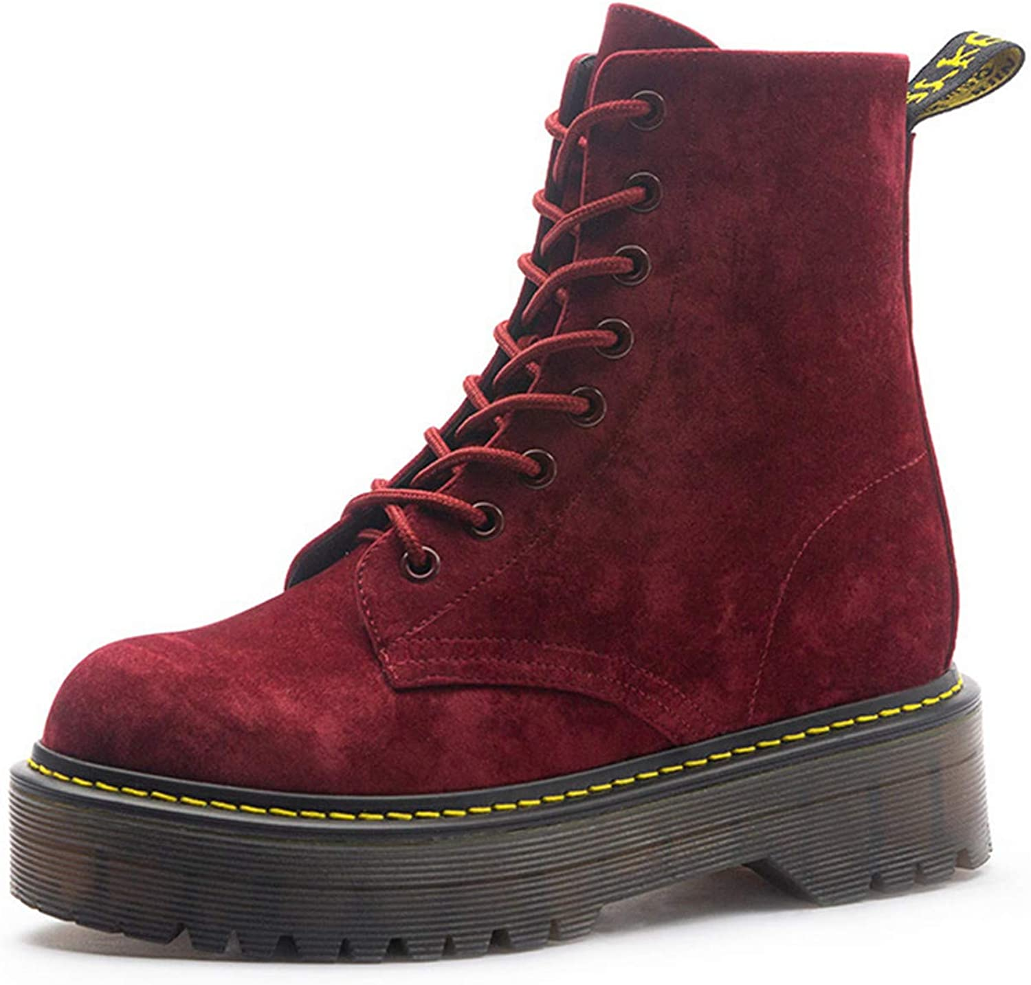 Motorcycle Boots for Women Autumn Round Toe Lace-Up Combat Martin Boots Ladies shoes