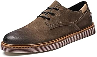 Lace Up Loafers For Men Oxford Shoes Perfunctory Burnish Round Toe Flats Faux Suede Touch Low Top casual shoes (Color : Khaki, Size : 41 EU)