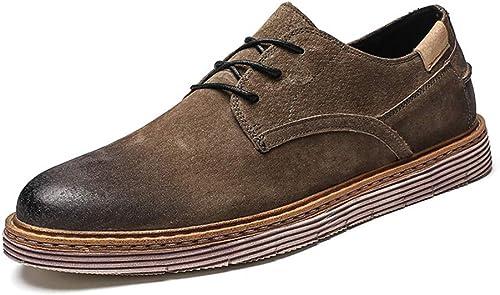 XHD-Chaussures Tenue de Ville Classique pour Hommes d'affaires Oxford Décontracté Retro Brush chaussures (Couleur   Kaki, Taille   41 EU)