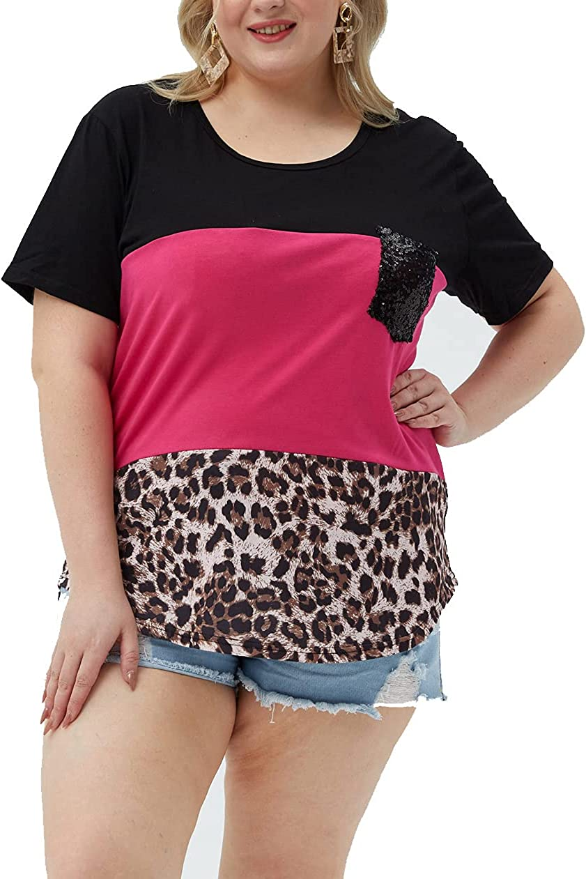 Womens Plus Size Tops Summer Short Sleeve Crew Neck Color Block Casual Shirts Blouses Tunics Tee Shirt