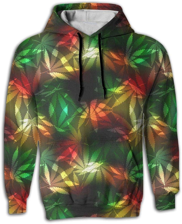 Unique Big Pockets Design Cannabis Leafs On bluer Rastafarian White Hoodie