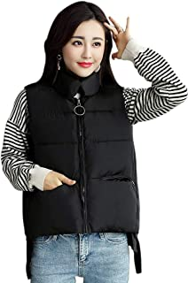 XFentech Women Winter Gilet - Women Quilted Zip Gilet Hooded Sleeveless High Neck Vest Jacket