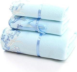 YIH Bath Towel Sets for Bathroom Blue, Luxury 3-Piece Bath Sheet, 2 Hotel & Spa Quality Hand Towels and 1 Bath Towels, Sof...