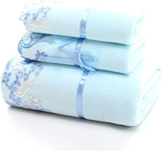 YIH Bath Towel Sets for Bathroom Blue, Luxury 3-Piece Bath Sheet, 2 Hotel & Spa Quality Hand Towels and 1 Bath Towels, Softness and Absorbency