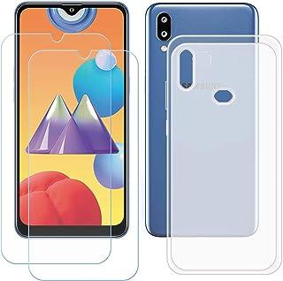 TTJ Genomskinligt skal för Samsung Galaxy M01S [2 stycken] HD pansarglas, mobiltelefonfodral silikon skyddande hölje TPU C...