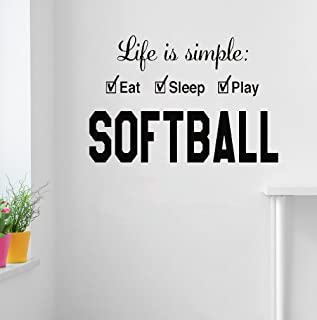psiuea Wall Sticker Quote Wall Decal Funny Wallpaper Removable Vinyl Softball Life is Simple Play Eat