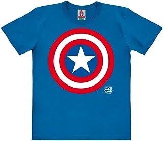 Marvel Comics - Superhéroe - Capitán América Logo Camiseta 100% algodón ecológico para niño - Azul - Diseño Original con Licencia