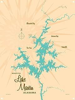 Lake Martin Alabama Vintage-Style Map Metal Art Print by Lakebound (9