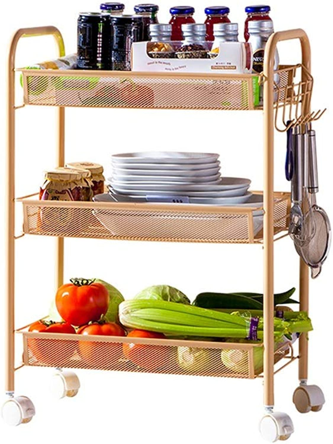 Storage Cart,3 Tier Basket Mesh Rolling Kitchen Trolley, Utility Storage Rack Rolling Cart with 6 Side Hooks, Serving Trolley Mit Locking Wheels for Home Office Kitchen Bathroom HPLL