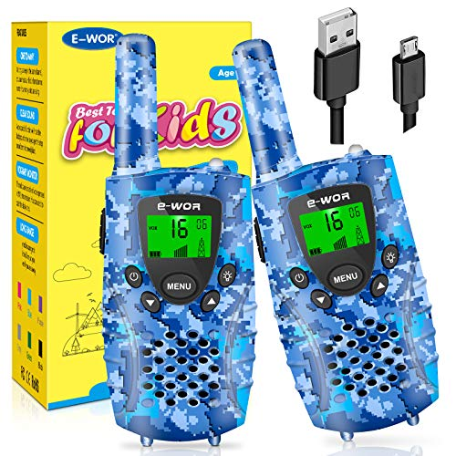 E-WOR Walkie Talkies for Kids Rechargeable, 4 Miles Range 22 Channels 2 Way Radios with Flashlight and LCD Screen, 2019 Best Kids walkie talkies for Boys and Girls, Toys for 3-12 Year Old Kids