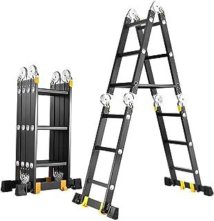 Lwieui Escalera telescópica Aluminio Función Multi Plegable Que adorna la Herramienta de extensión Loft Escalera for Cubie...