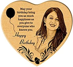 Incredible Gifts Heart Shaped Wooden Engraved Photo for Birthday Steam Beech (5.5 X 6 Inches)