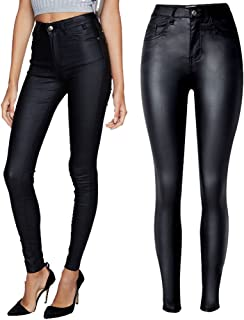 Women High Waist PU Leather Coated Denim Pants Sexy Tight Stretchy Rider Leggings Black Red