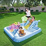 Piscina Infantil Piscina Inflable para niños Toboganes inflables de PVC con Bola oceánica y Bomba Inflable para niños de 2 a 4 años - 239x206x86cm Uptodate