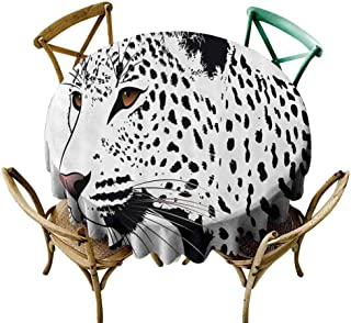 W Machine Sky Christmas Tablecloth Tattoo Decor,The Head of Magnificent Rare White Tiger with Ocean Blue Eyes Image,White Black and Blue Diameter 70