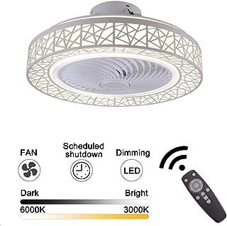 Ventilador de techo de 72W Luz de techo LED Aspa de ventilador transparente invisible LED incorporado con control remoto Decoración de nido de pájaro Longitud de suministro de aire giratorio 50 cm