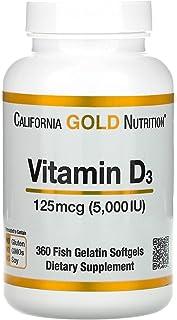 Vitamin D3 125 mcg 5000 IU 360 fish gelatin softgels