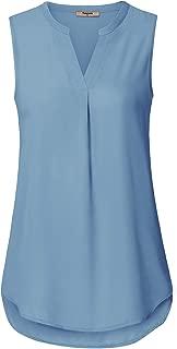 Women's Casual Chiffon V Neck Cuffed Sleeve Blouse Tops