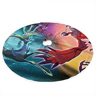 Traditional Christmas Tree Skirt Ntense Symphonic Metal Cover of Battle Xerneas Yveltal Zygarde 35.5 Inch - Holiday Party Decoration