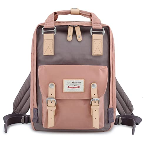"Himawari School Waterproof Backpack 14.9"" College Vintage Travel Bag for Women,14 inch Laptop for Student (pink&Gray)"