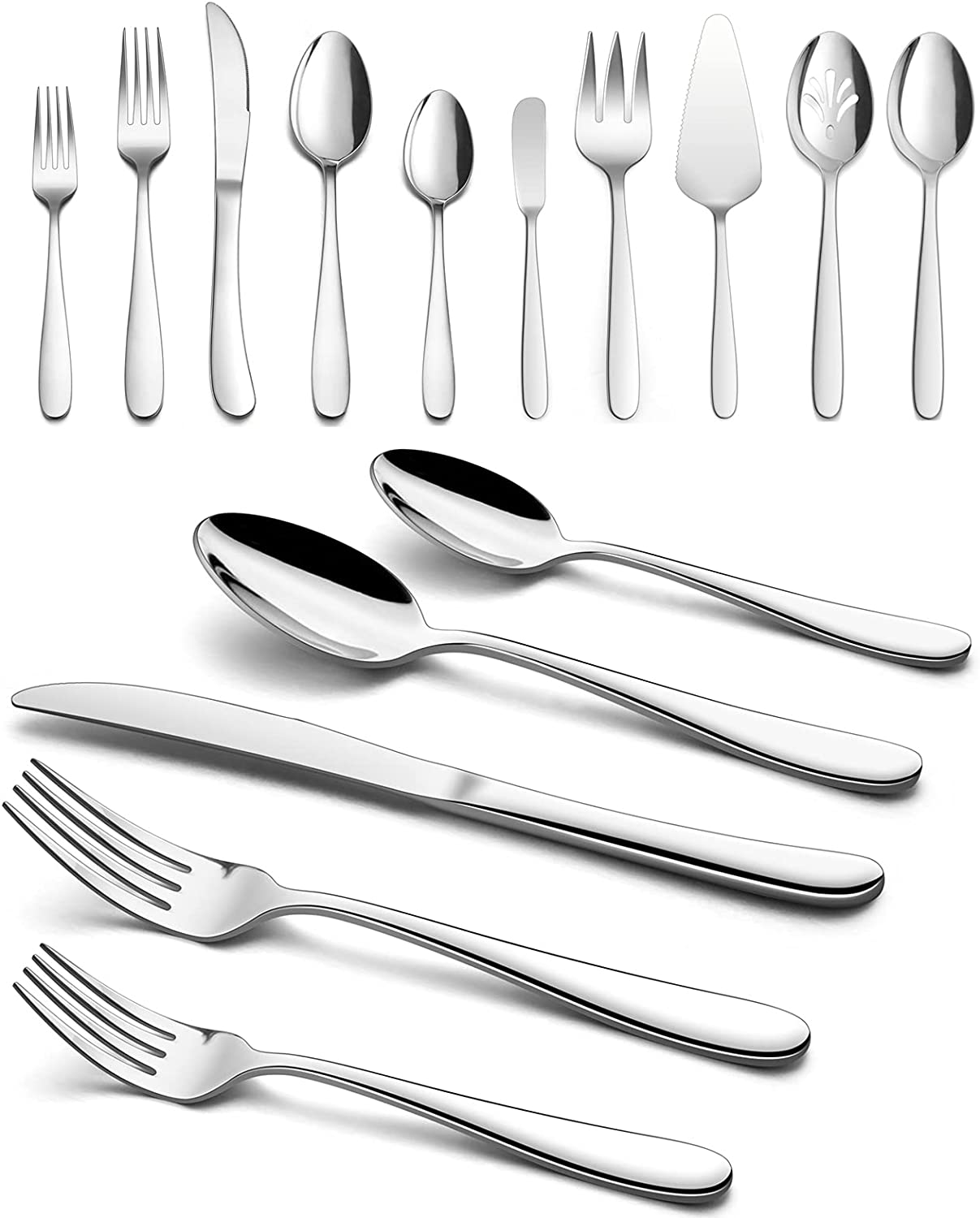 Heavy Duty Silverware Set with Serving Utensils, HaWare 45 Pieces Stainless Steel Flatware Set, Heavy Weight Eating Utensils Tableware for 8, Modern Cutlery for Home, Dishwasher Safe, Mirror Polished