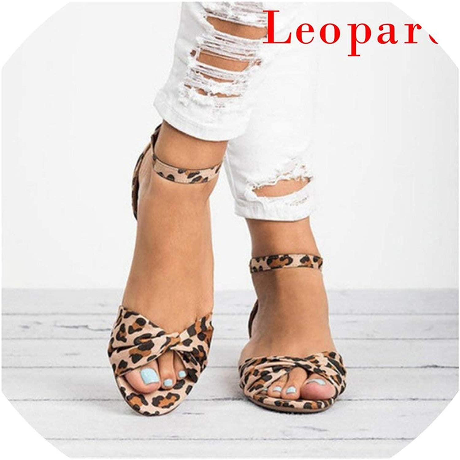 Oeak Leopard Print Flat Heel Women's Sandals Women Summer shoes Sandals Sweet