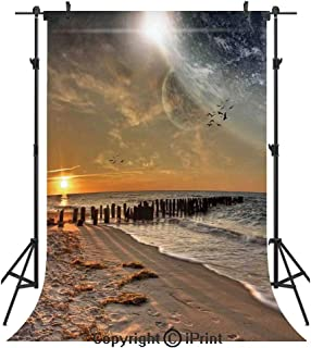 Space Photography Backdrops,Magical Solar Eclipse on Beach Ocean with Horizon Sun Moon Globe Gulls Flying View,Birthday Party Seamless Photo Studio Booth Background Banner 6x9ft,Cream Orange