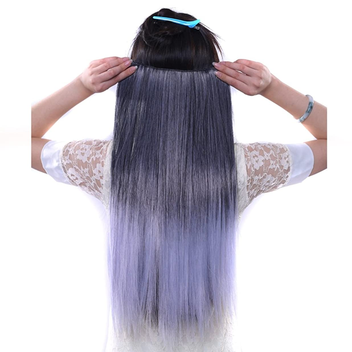 に応じて同一性代表してJIANFU 合成ヘアエクステンションヘアカラーグラデーションウィッグピースで5クリップロングストレートヘアピース60cm (Color : Black gradient purple)
