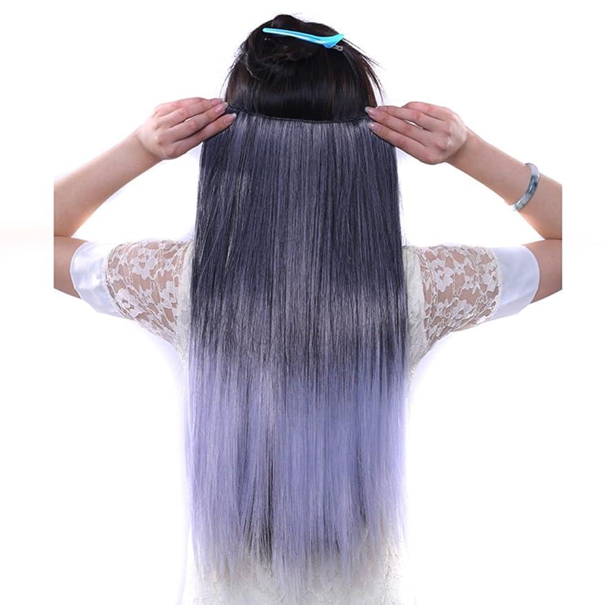 換気する茎可塑性JIANFU 合成ヘアエクステンションヘアカラーグラデーションウィッグピースで5クリップロングストレートヘアピース60cm (Color : Black gradient purple)