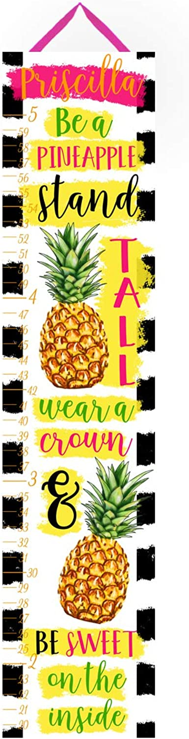 Canvas GROWTH CHART Fresh Pineapple Girls Bedroom Baby Nursery Wall Art GC0324